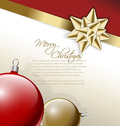 Golden bow on a ribbon with white and red vector image