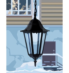 Decorative wrought iron lamp vector