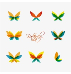 Set of colorful butterflies logos vector