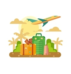 Summer vacation travel flat vector