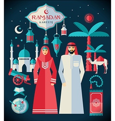 Ramadan kareem icons set of arabian vector