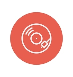 Phonograph turntable thin line icon vector