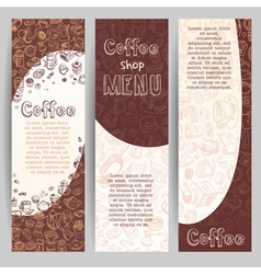 Banners with coffee drawn elements vector