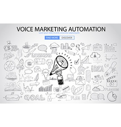 Voice marketing concept with doodle design style vector