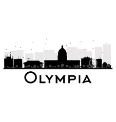 Olympia City skyline black and white silhouette vector image