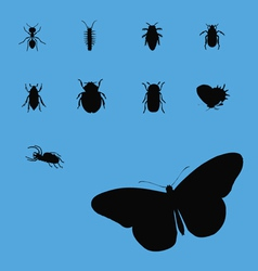 insects collection silhouette 2 vector image