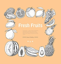 Square frame of exotic fruits vector