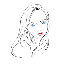 Beautiful woman face hand drawn llustration vector