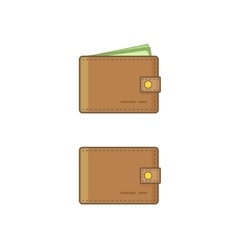 Wallet wit money icon isolated on white vector