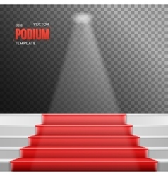 Photorealistic stairs podium with red vector