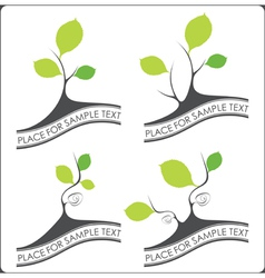 Abstract set of trees vector image vector image