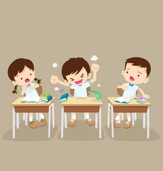 Angry boy and friends in classroom vector
