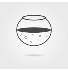black aquarium icon with shadow vector image vector image