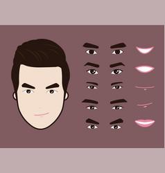 Cartoon character pack facial emotions design vector