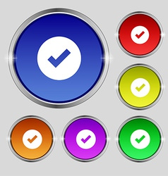 Check mark tik icon sign Round symbol on bright vector image