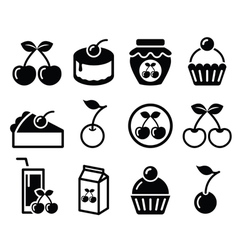 Cherry fruit cake jam icons set vector image