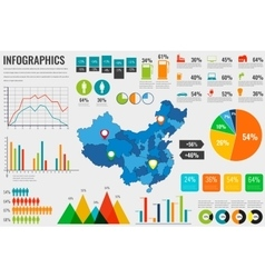 China map with Infographics elements Infographics vector image