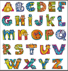 Colorful funny cat alphabet vector