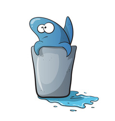 Cute funny shark cartoon on water vector