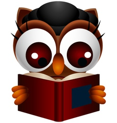 Cute owl reading book vector