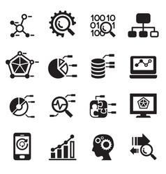 data mining database data analysis icons set vector image vector image