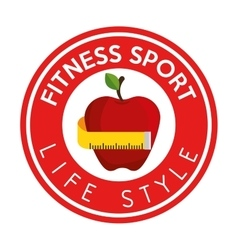 Fitness sport life style apple measure tape label vector