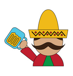 Funny mexican man with hat and mustache with beer vector