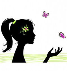 Girl silhouette with butterfly vector
