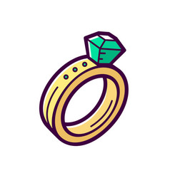 golden engagement ring with emerald icon vector image vector image