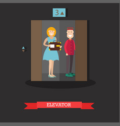 hotel elevator in flat style vector image