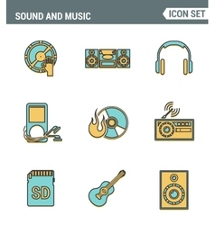Icons line set premium quality of sound symbols vector image vector image
