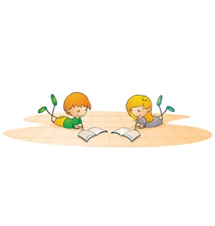 kids reading book vector image vector image