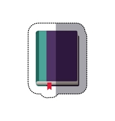 Middle shadow color sticker with book and ribbon vector
