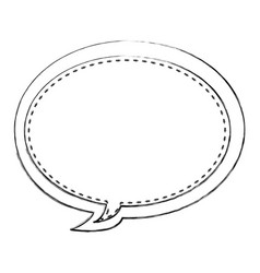 Monochrome blurred contour of oval bubble frame vector