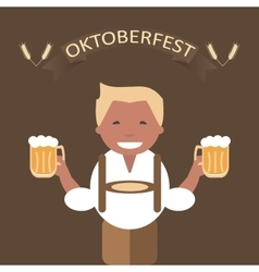 Oktoberfest poster with man and a mug of beer vector