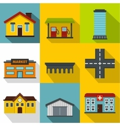 Public building icons set flat style vector