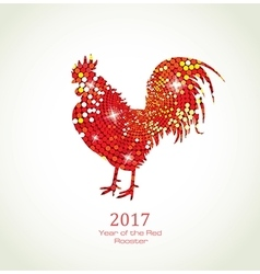 Red Rooster New Year Greeting Card vector image vector image