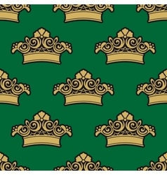 Seamless pattern with golden crowns vector