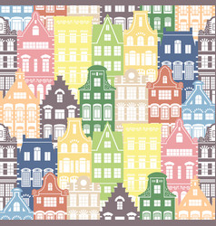 Seamless shapes pattern of holland houses facades vector