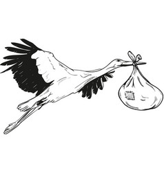 Stork with baby bag vector