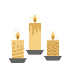 three golden burning candles on white background vector image vector image