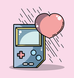 ttechnologic videogame console with heart symbol vector image vector image