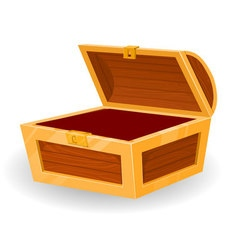 vintage wooden chest with open cover vector image vector image