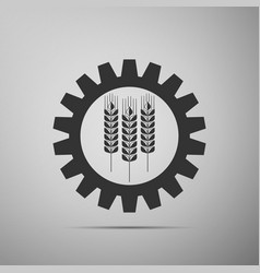 wheat and gear icon on grey background vector image