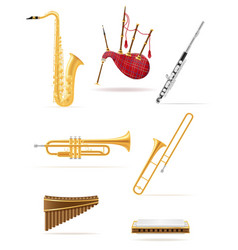 wind musical instruments set icons stock vector image vector image