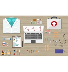 Desk with laptop medical and healthcare devices vector