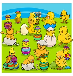 Easter chicks group cartoon vector