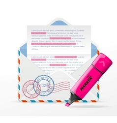 detailed envelope and marker vector image