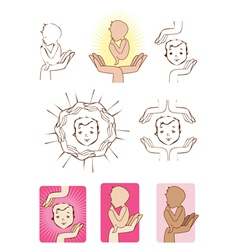 Baby protected by hands icons logo elements vector
