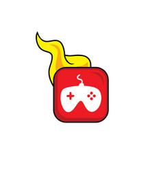 Joystick hot flame icon button theme art vector